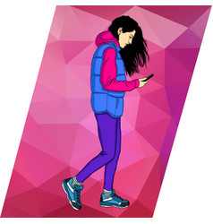 Woman walking and text on mobile phone vector