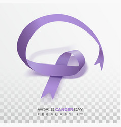 World cancer day concept lavender ribbon vector