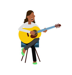 young girl sitting on the chair playing acoustic vector image