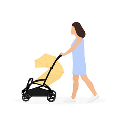 young mother walking with baby stroller vector image