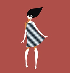 Young woman with sunglasses and striped dress vector image