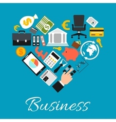 Business icons combined in heart shape vector image vector image