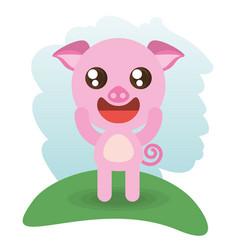 Cute piggy animal wildlife vector