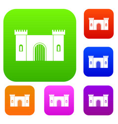 fortress with gate set color collection vector image vector image