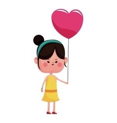 girl pink heart balloon happy vector image vector image