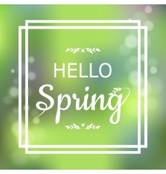 Hello Spring green card design with a textured vector image