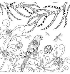 Tropical parrot in flower garden vector image