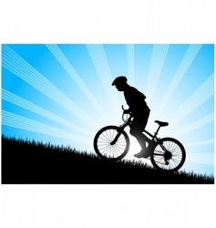 biker riding up to hill vector image