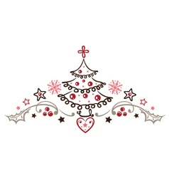 Christmas tree holly vector image