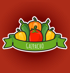 Emblem with tomato and peppers vector