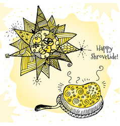 Happy shrovetide hand drawn vector