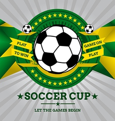 Soccer Emblem with Geometric Background in Brazil vector image