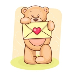 Teddy Bear holding envelope vector image vector image
