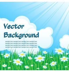 Blue background with grass vector image vector image