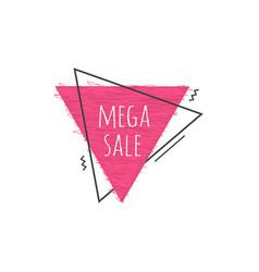 grunge geometric badge with mega sale sign - vector image