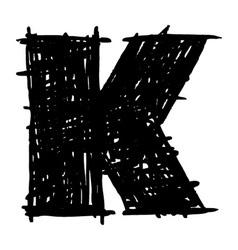 K - hand drawn character sketch font vector image