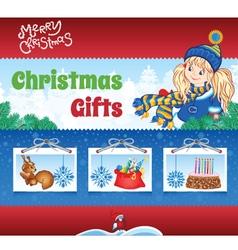 Kid winter background vector image vector image