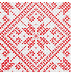 knitted red seamless pattern vector image vector image
