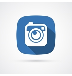 Photo or hipster camera flat icon with long shadow vector image