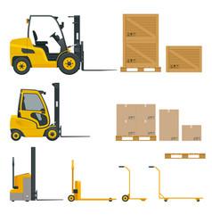 set of orange forklifts with cardboard box vector image