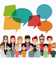 cartoon people community talking communication vector image