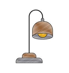 color crayon stripe silhouette of desk lamp vector image vector image