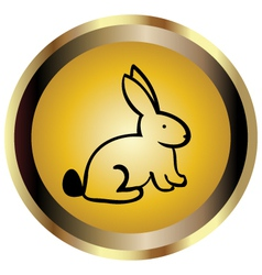 Gold seal of Rabbit vector image vector image
