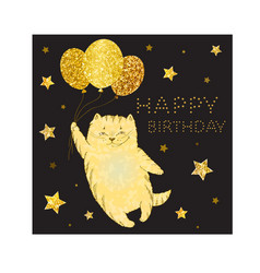 greeting card with golden cat with balloons and go vector image vector image