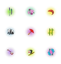 Japan icons set pop-art style vector image