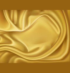 luxury realistic golden silk satin textile vector image