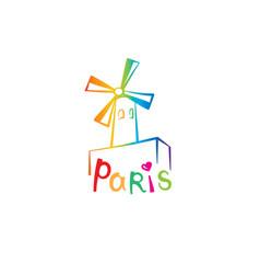 paris sign french famous landmark moulin rouge vector image