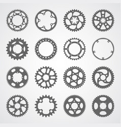 set of 16 isolated gears and cogs vector image