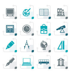 stylized school and education icons vector image vector image