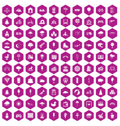 100 childrens park icons hexagon violet vector image vector image
