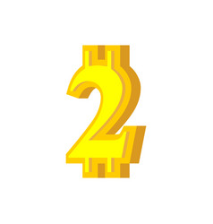 2 numeral bitcoin font two numeric crypto vector image