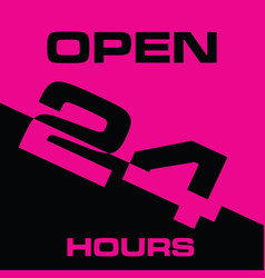24 hour open icon in pink and black color vector image
