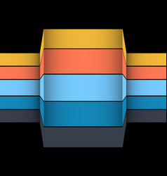 3d multicoloured striped structure on black vector