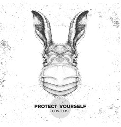 Animal rabbit wearing face medical mask covid-19 vector