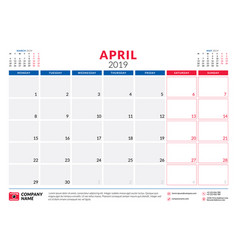 april 2019 calendar planner stationery design vector image