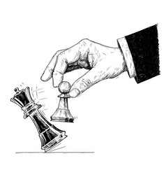 Artistic drawing of hand holding chess pawn and vector