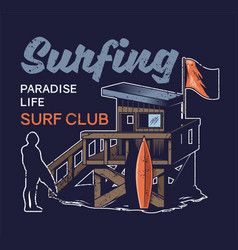 beach wood house surfing club vector image