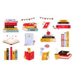 Big set colorful books book stacks piles vector