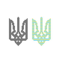 Black and colored pixel art ukrainian emblem vector