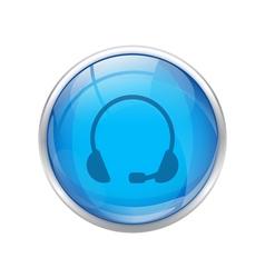 Blue headset button vector