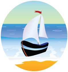 Boat and beach cartoon vector