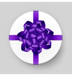 Box with Purple Violet Bow and Ribbon Top View vector