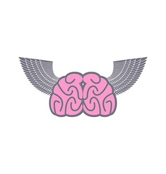 Brain with wings Symbol logo ideas Brain with vector image
