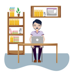 businessman in office vector image