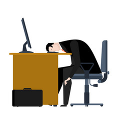 businessman tired of work head is on table vector image