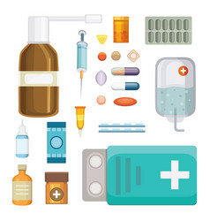 cartoon medicaments different medical pills and vector image